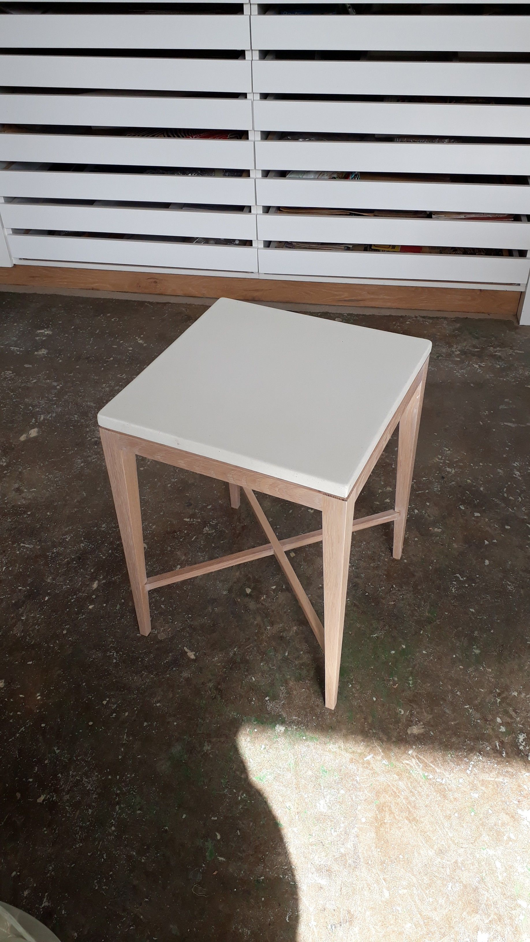 our new marble dust concrete and oak side table duchenne