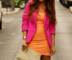 cute dress with blazer.  colour blocking an amazing trend <3
