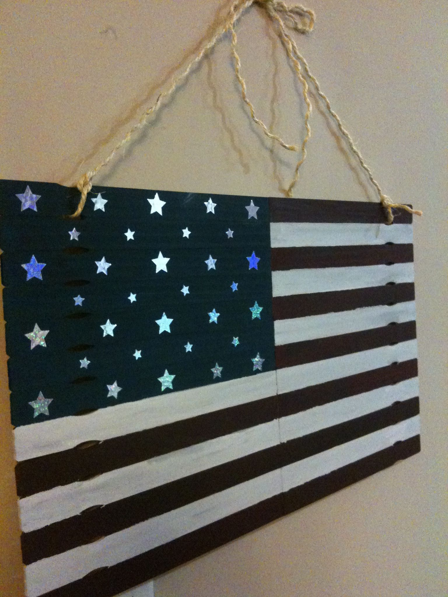 American flag made with free paint sticks from Home Depot