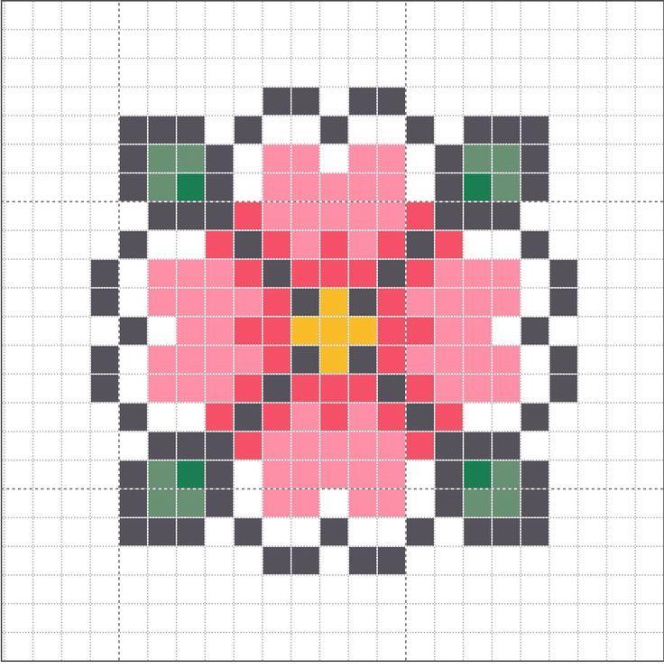Simple Flower Cross Stitch Graph Beading Patterns Cross