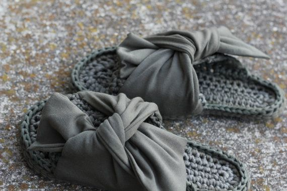 Photo of Items similar to Khaki peep toe mules | Cotton open toe slippers | Cozy home slippers | Giant bow open toe shoes | Gift for her | Oversize bow home shoes  on Etsy