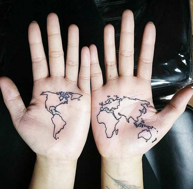 40 world map tattoos that will ignite your inner travel bug map map tattoo on hand by lee kiev gumiabroncs Choice Image
