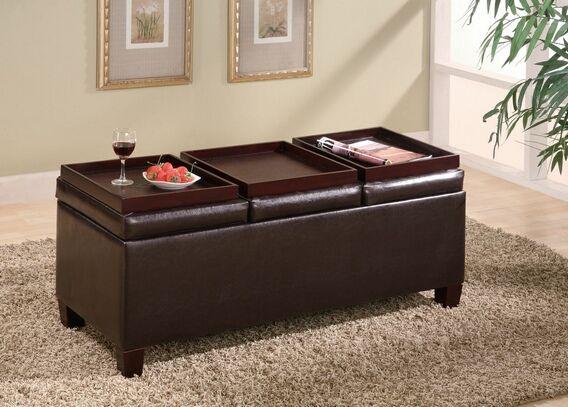 501036 Leather Like Vinyl Storage Ottoman With 3 Flip Top Trays