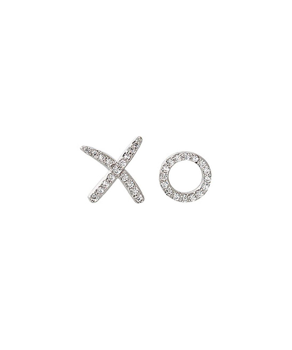 Another great find on #zulily! Cubic Zirconia & White Gold X & O Stud Earrings by Sevil 925 #zulilyfinds