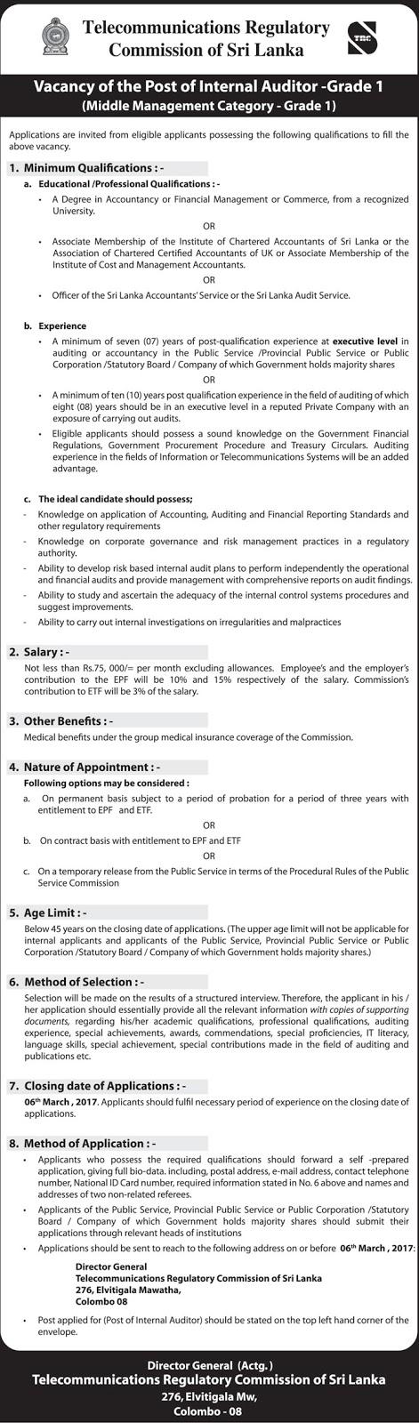 Internal Auditor Telecommunications Regulatory Commission