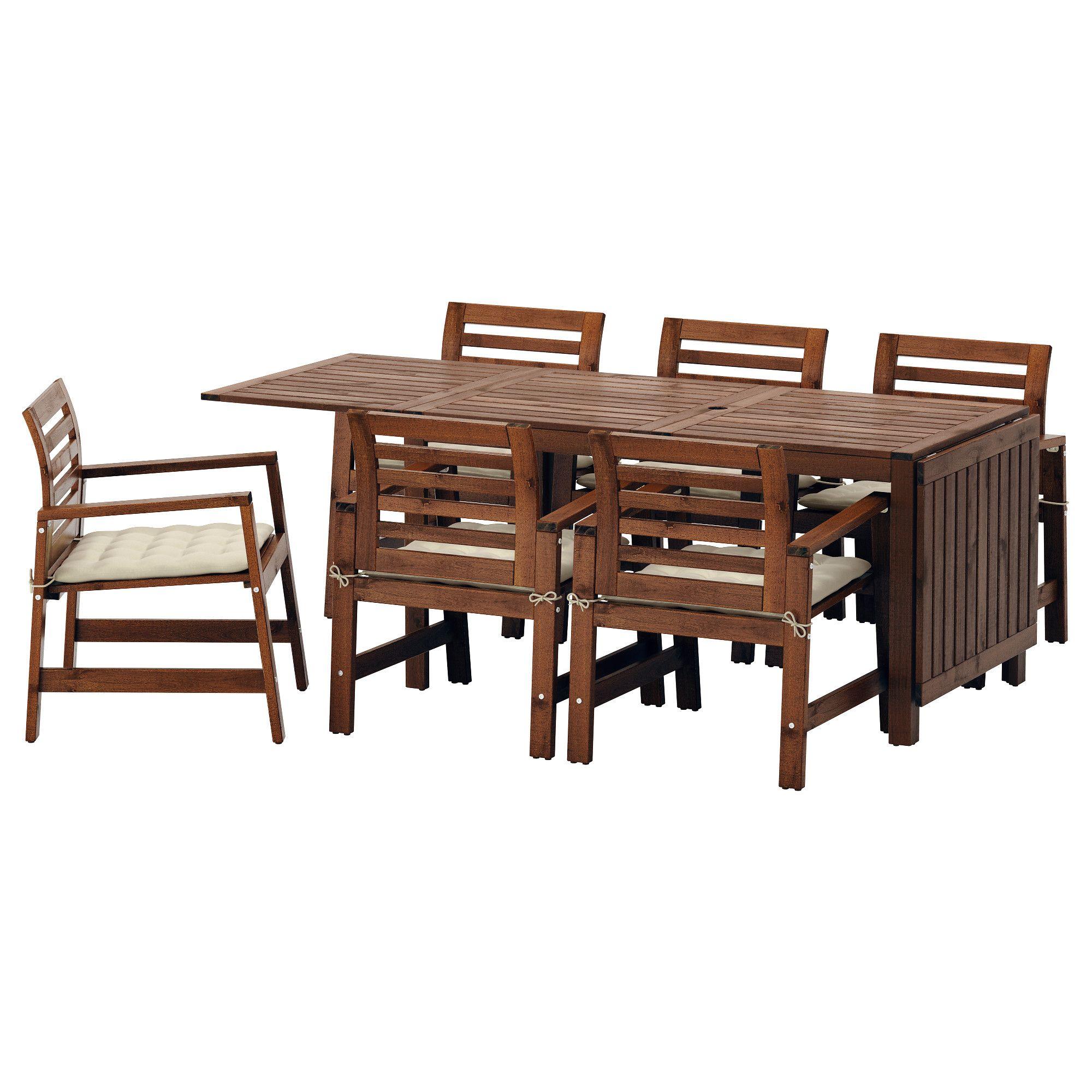 IKEA APPLARO Brown Stained, Hållö Beige Table+6 armchairs