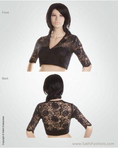 bfe15906 Classic Black lace designer blouse creating a stunning designer effect.