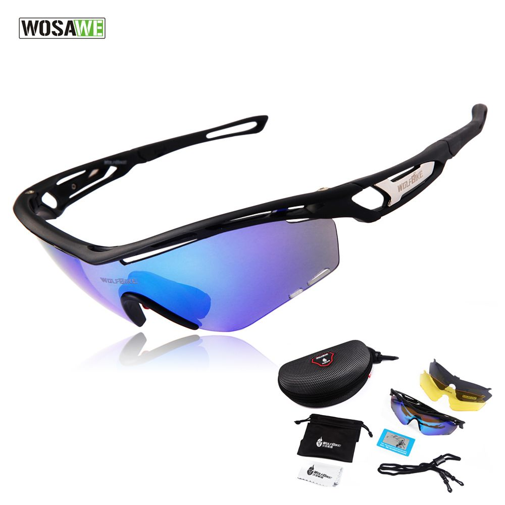 d7457165910de WOSAWE Professional Polarized Cycling Glasses Bike Goggles Outdoor Sports  Bicycle Sunglasses UV 400 With 3 Lens TR90