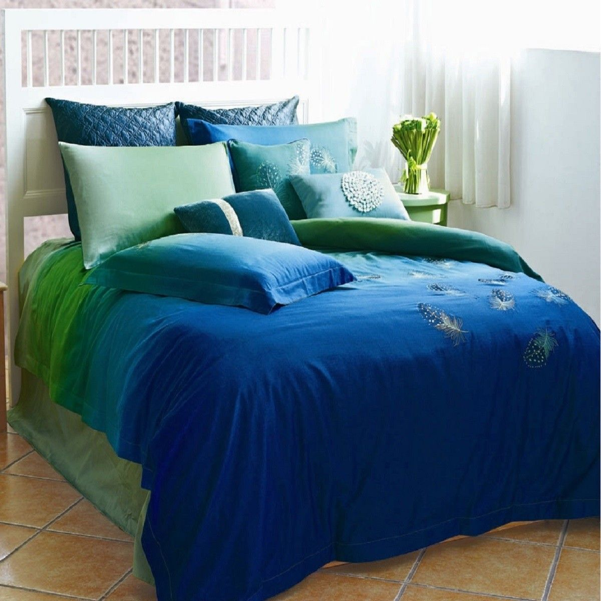 Peacock Feathers Duvet Cover Set Peacock Linens Bedding