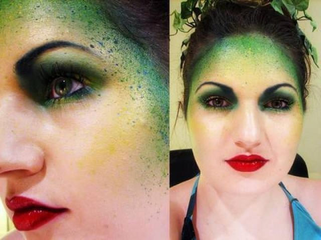 Halloween tips Makeup poison ivy green red lips Poison