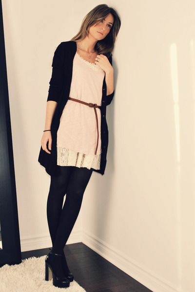 black H&M cardigan - pink Ardene top - beige Ebay dress - brown ...
