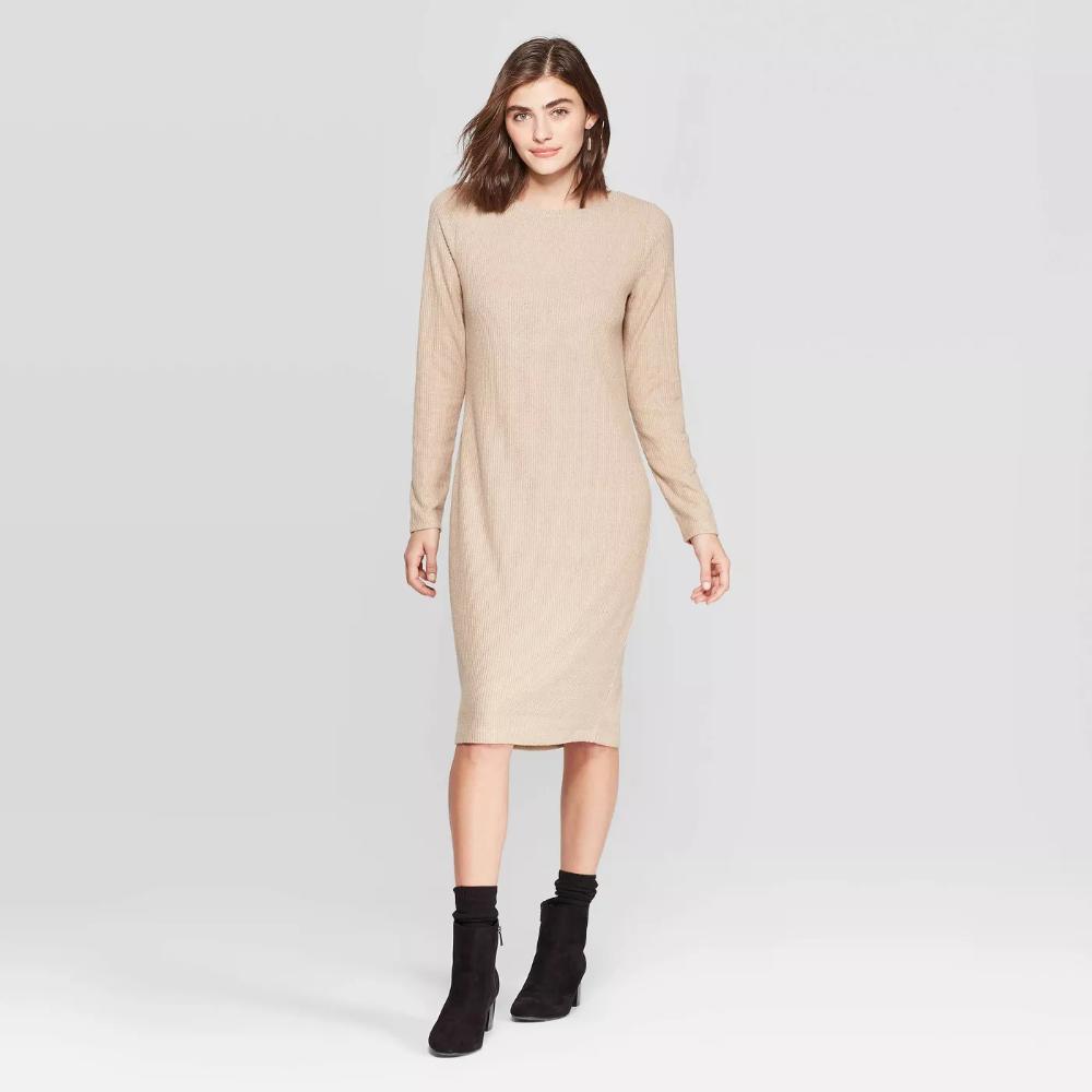 Women S Long Sleeve Crewneck Rib Knit Dress A New Day Target Ribbed Knit Dress Target Clothes Knit Dress [ 1000 x 1000 Pixel ]
