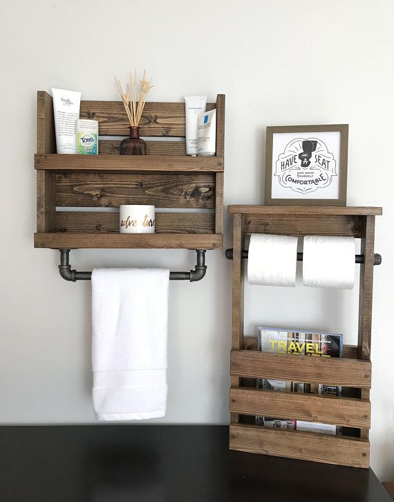 Photo of Bathroom Set Shelf with Pipe Towel Bar And Toilet Paper and Magazine Holder, Rustic Bathroom Storage, Industrial Modern Bathroom Decor Shelf