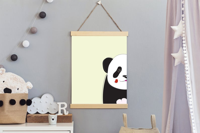 Cute printable Peek a Boo baby panda bear for nursery room #babypandabears