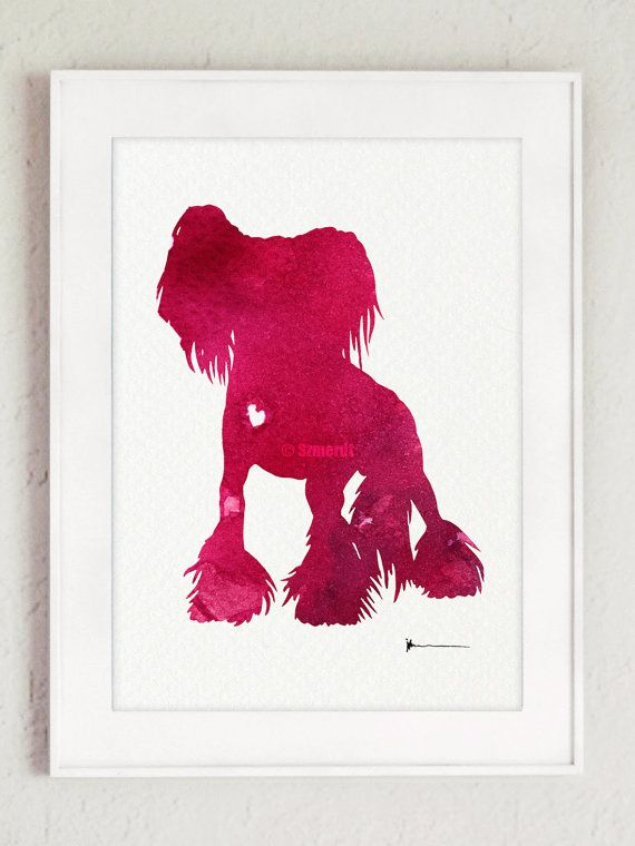 Chinese crested watercolor painting Dog by ColorWatercolor on Etsy