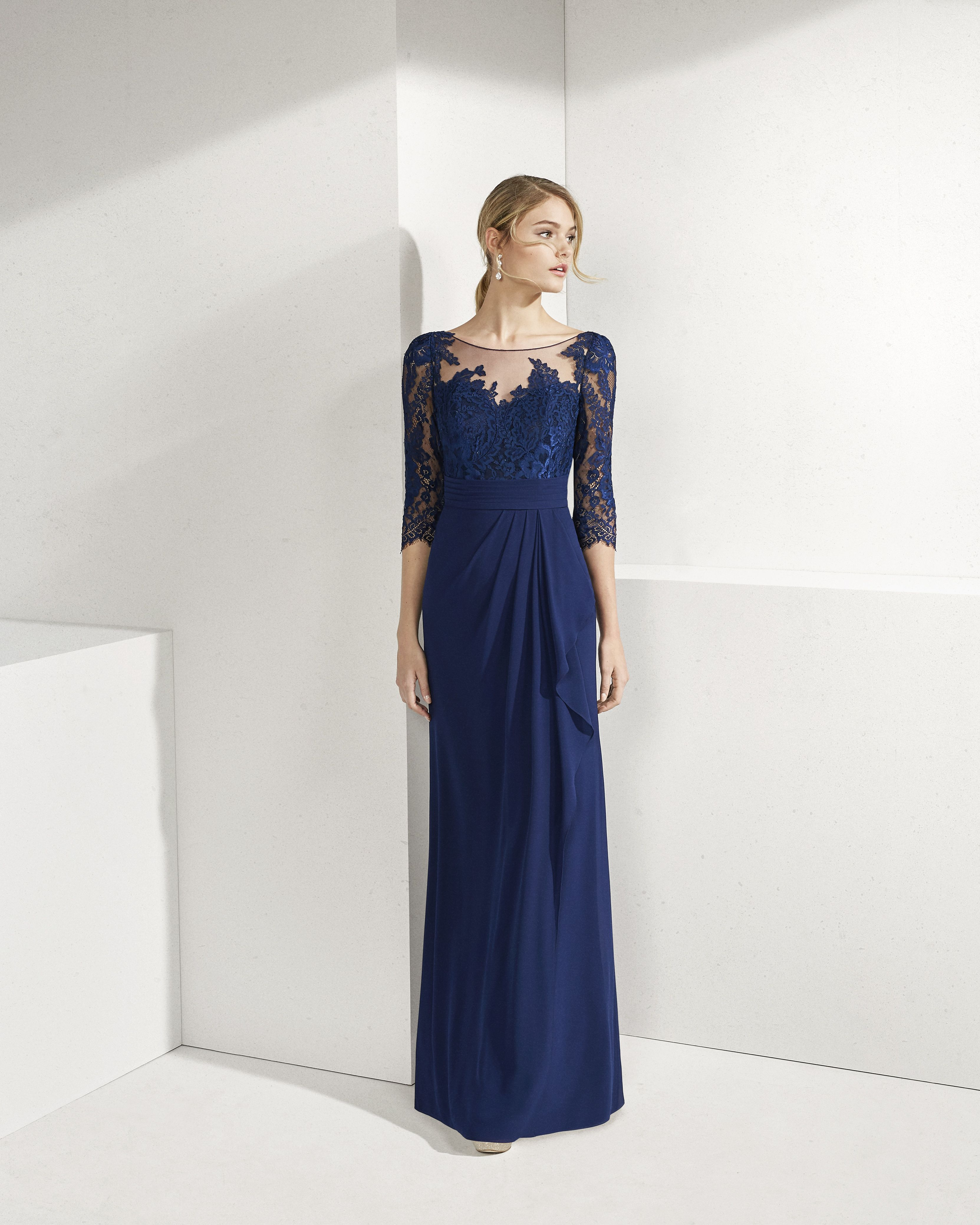 680203451 Lace and crepe Georgette cocktail dress. Bateau neckline and long sleeves. 2019  ROSA CLARA