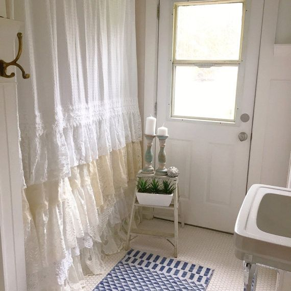 Diy Lace Ruffle Shower Curtain Bohemian Shabby Chic Bathroom