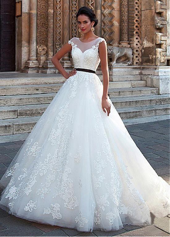 comprar Vestidos de novia de tul fantástica Scoop escote A-line con ...