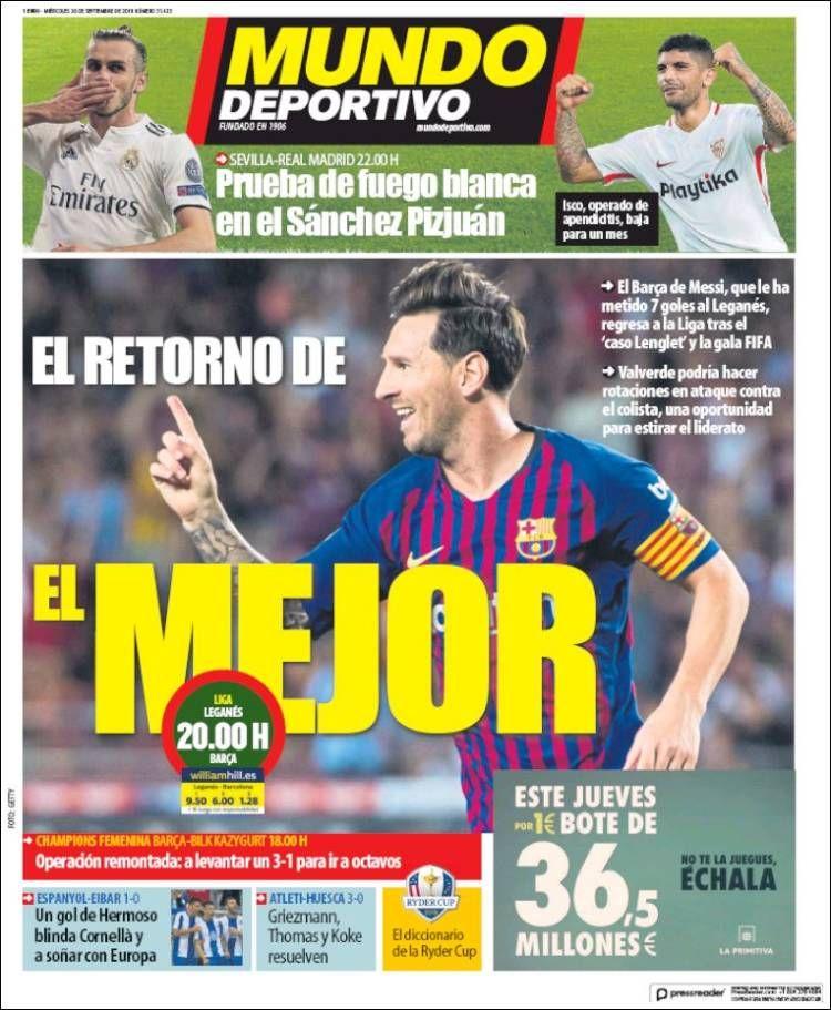 20180926 Portada de El Mundo Deportivo (España) Mundo