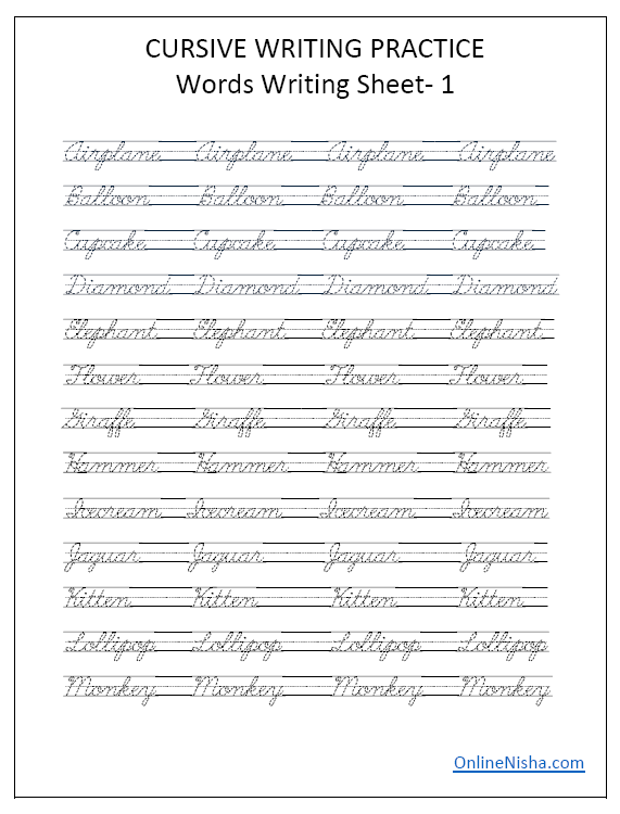 Cursive Writing Word Practice Sheet 1 Cursive Writing Practice Sheets,  Cursive Writing, Cursive Writing Worksheets