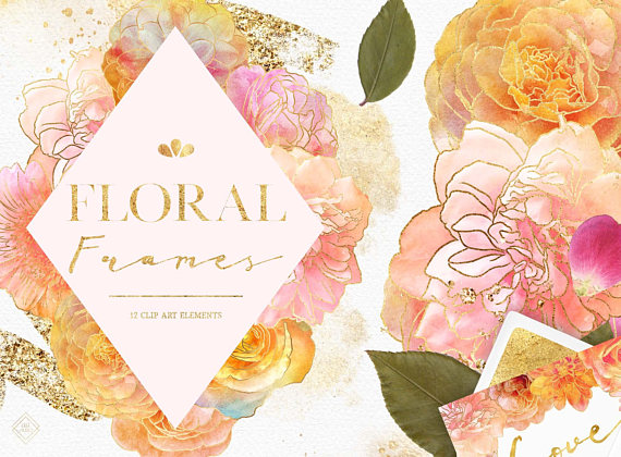 Watercolor Flower Clipart Frame Floral Border Gold Wedding Etsy Flower Clipart Clip Art Watercolor Flowers