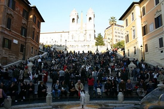 Sitting on the Spanish Steps in Rome.
