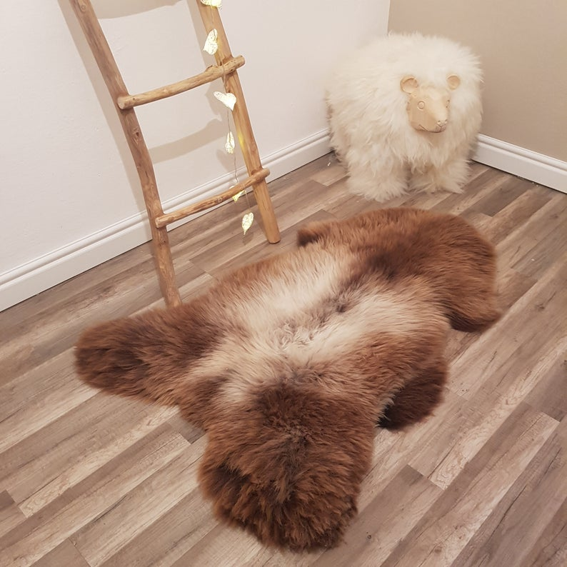 Grey Brown Genuine Sheepskin Rug 100 Sheep Skin Leather Sheep Etsy In 2020 Rug Decor Sheepskin Rug Brown And Grey