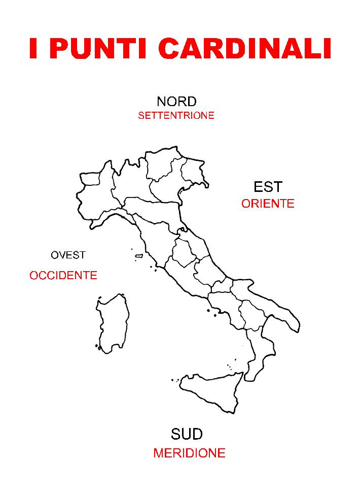 Cartina Italia Nord Sud Est Ovest.Pin Su Geografia