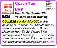#COLLEGE #PODCAST  Coach Your Best    How To Get Started With Velocity Based Training    LISTEN...  http://podDVR.COM/?c=753ebbe1-85c2-fd06-6de8-31df9c6b6f7b