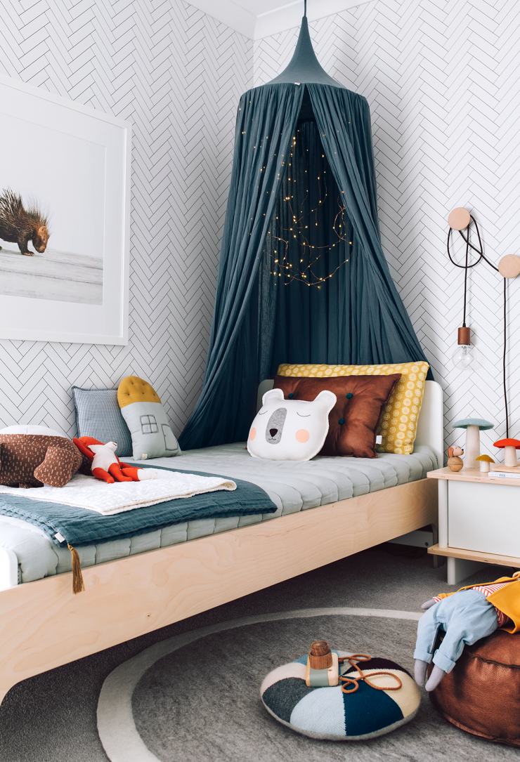 In love with this room! Bright and full of fun, modern scandi vibe. Numero74 products in here: Teal Blue Canopy, Teal Blue Summer Blanket (on the bed). #kidbedrooms