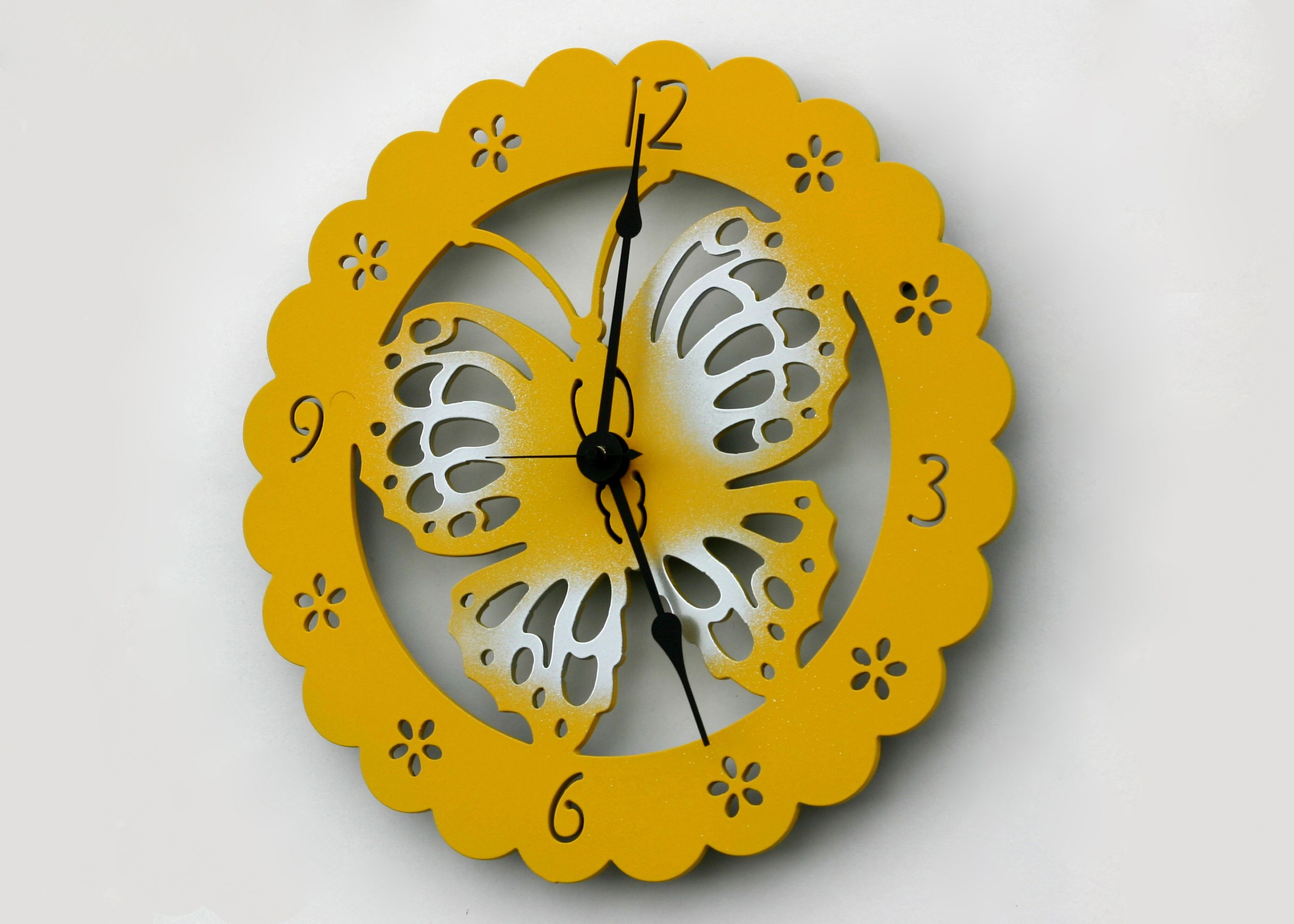 Cute Yellow Metal Butterfly Clock. Make your own metal clock designs ...