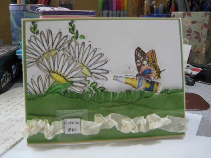 retired stampin' up! butterfly, flowers, glass. corona image from internet. for a friend..