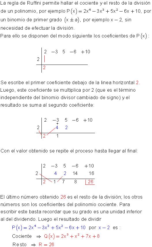 División por Ruffini | Algebra | Pinterest | División, Polinomios y ...