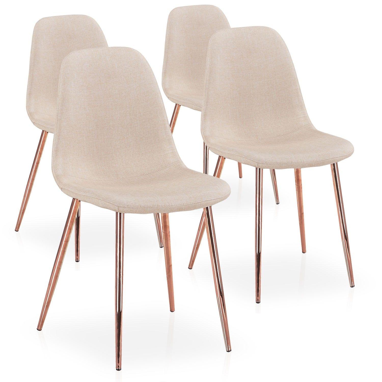 Lot De 4 Chaises Scandinaves Gao Tissu Beige Pieds Or Rose En 2020 Chaise Scandinave Chaise Beige Chaise
