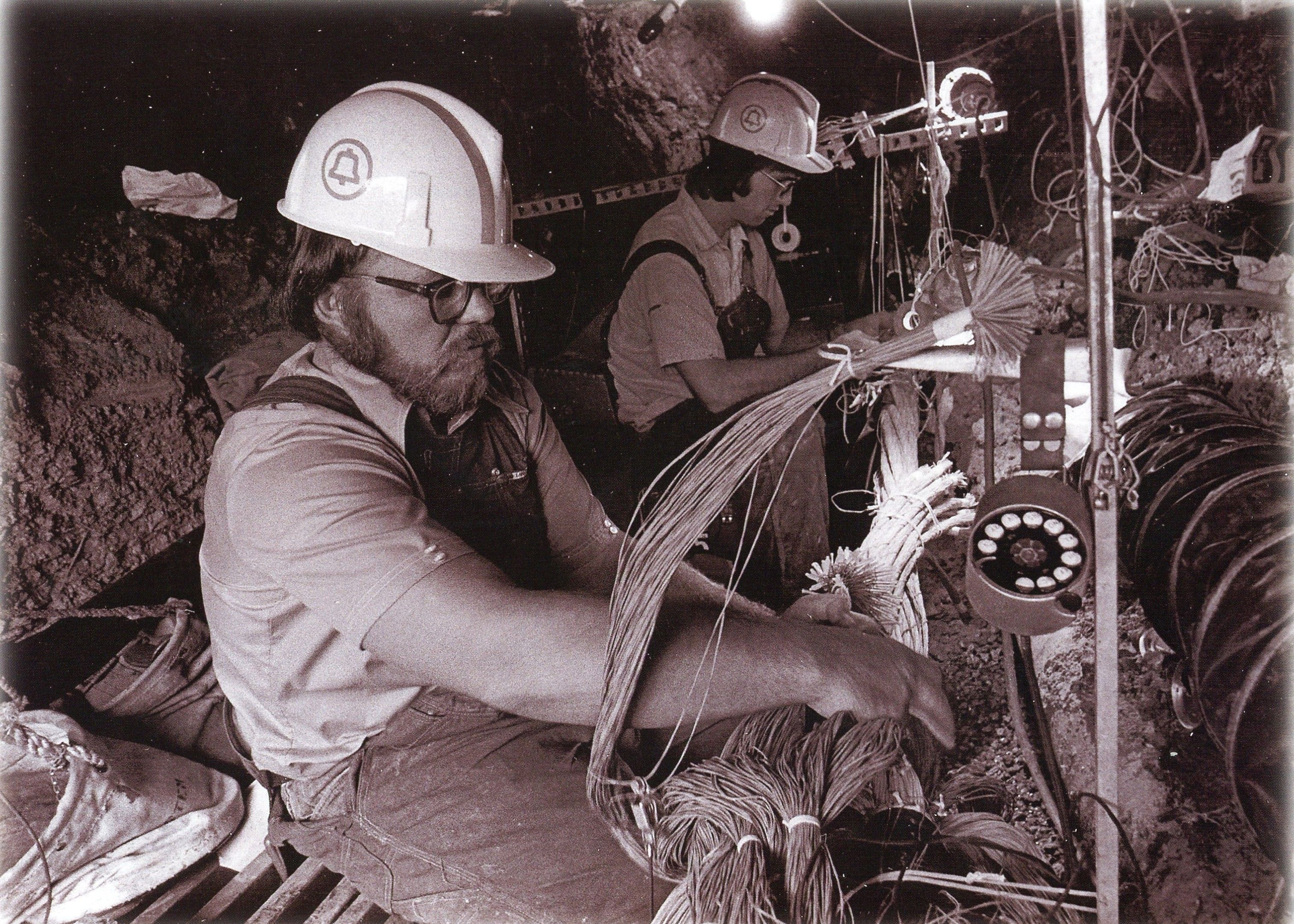 Cable Splicers Repair A Damaged Line In The Aftermath Of A 1971 Tornado