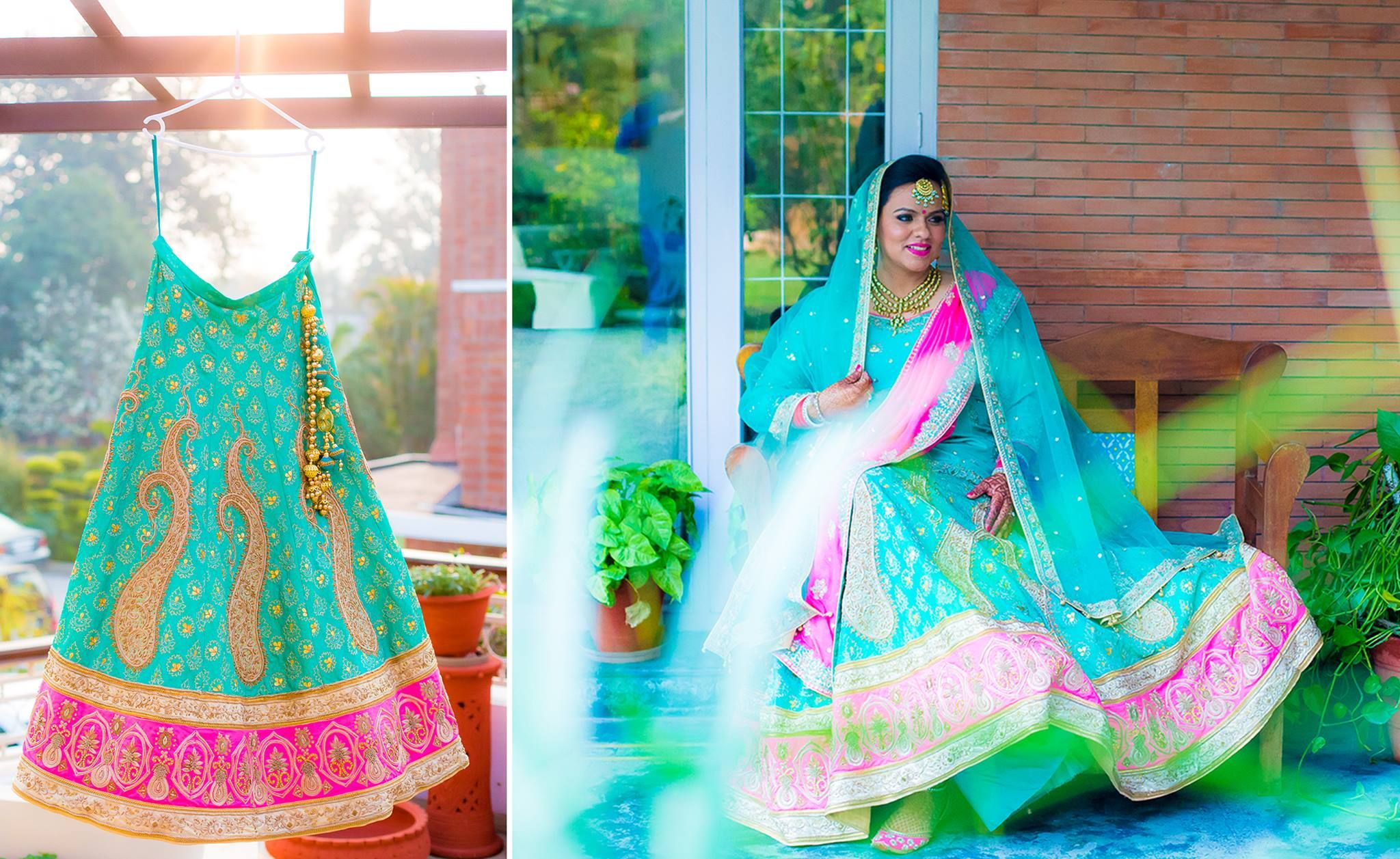 An aqua blue lehenga with a pink border and gold work by Ritika and ...