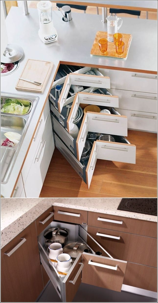 Maximized Use of Space with Kitchen Corner Drawers