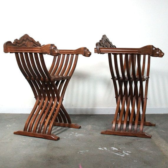 Antique Lion Chairs / X Frame Folding Savonarola Slat by SPUNKvtg, $875.00 - Carved Lion Chairs / X Frame Folding Savonarola Slat Chairs With