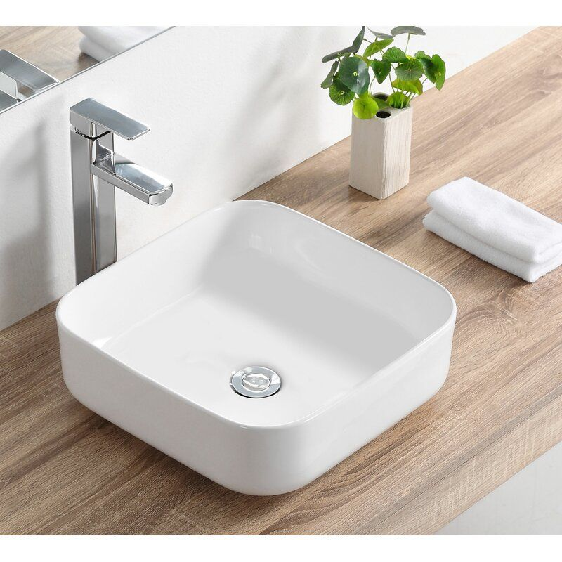 White Ceramic Square Vessel Bathroom Sink In 2020 Vessel Sink Bathroom Bathroom Sink Vessel Sink Bowls