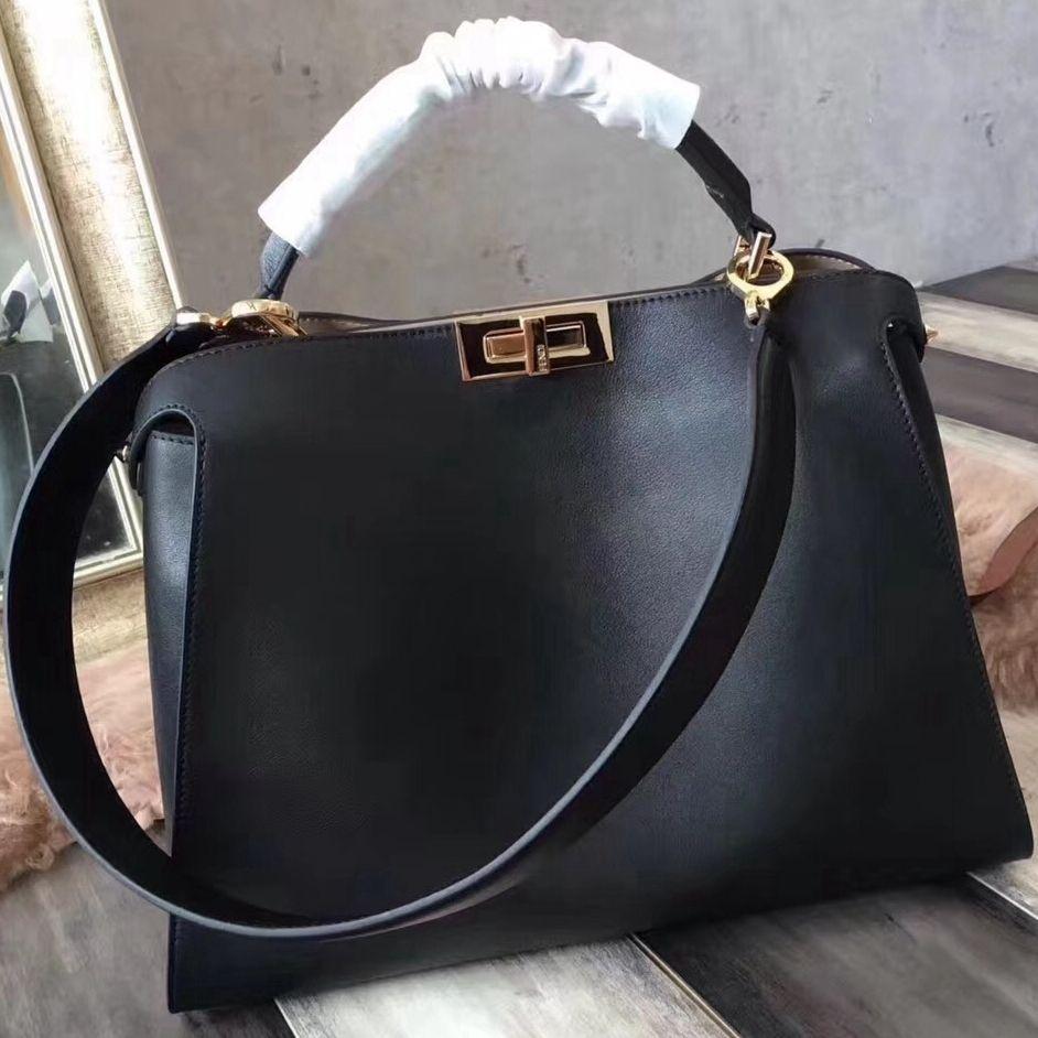 09373ba6347f Fendi Calfskin Essential Peekaboo Bag 38cm Black 2018