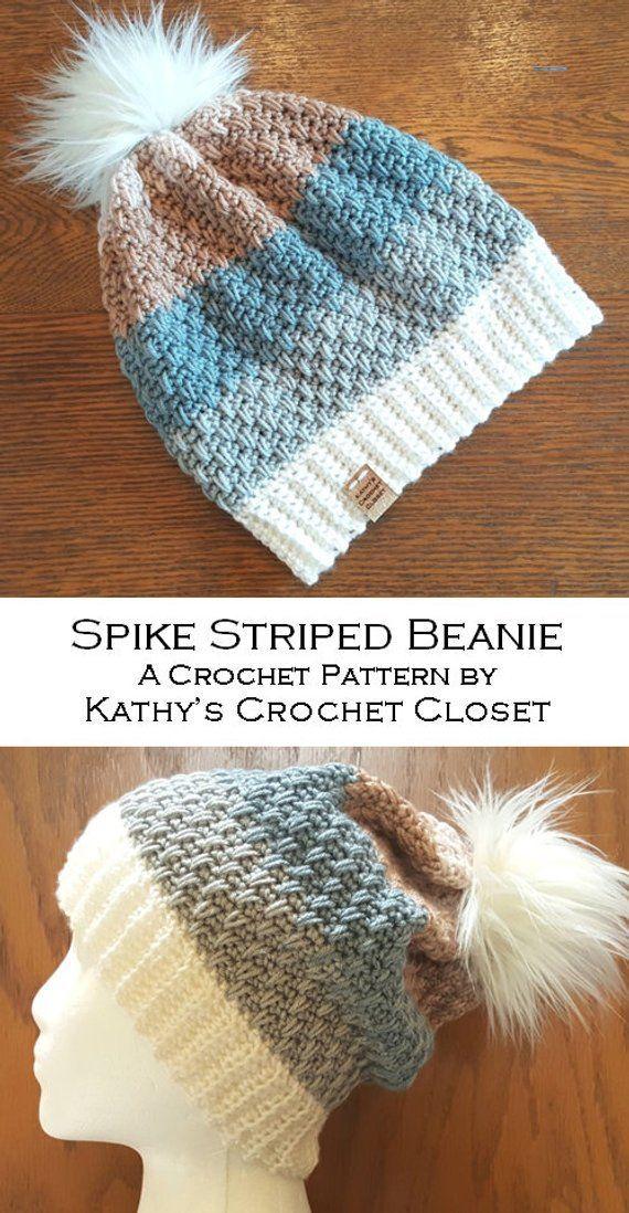 Crochet Hat PATTERN –  Spike Striped Beanie – DIY Beanie Pattern – Womens Hat Pattern – Crochet Beanie Pattern – Faux Fur Pompom Pattern