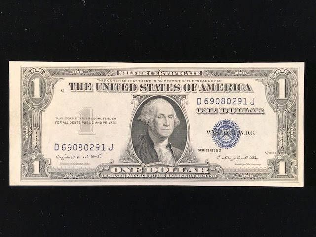 1935 G 100 Blue Seal Silver Certificate With Motto Fine Condition