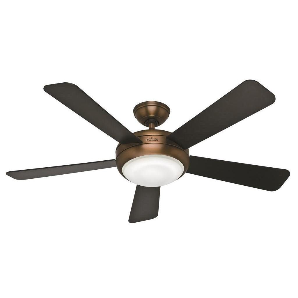 Hunter Fan Palermo 52 Inch Brushed Bronze With 5 Black Walnut Reversible Blades