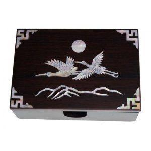 Amazon korean traditional wooden name card box with heron and amazon korean traditional wooden name card box with heron and sun decoration made reheart Gallery
