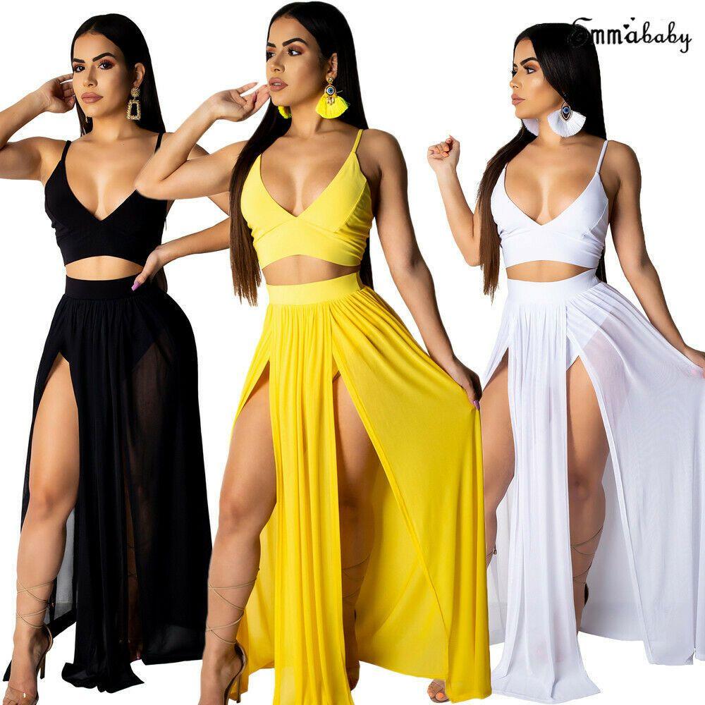 b00a690eab Hot Summer Beach Women Party Dress Maxi Long Skirt Crop Top Two Piece Set -  Black