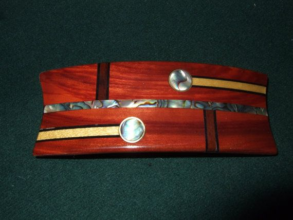 Wood Wooden Barrette Hairclip Blood wood medium by Thingsinwood18, $55.00