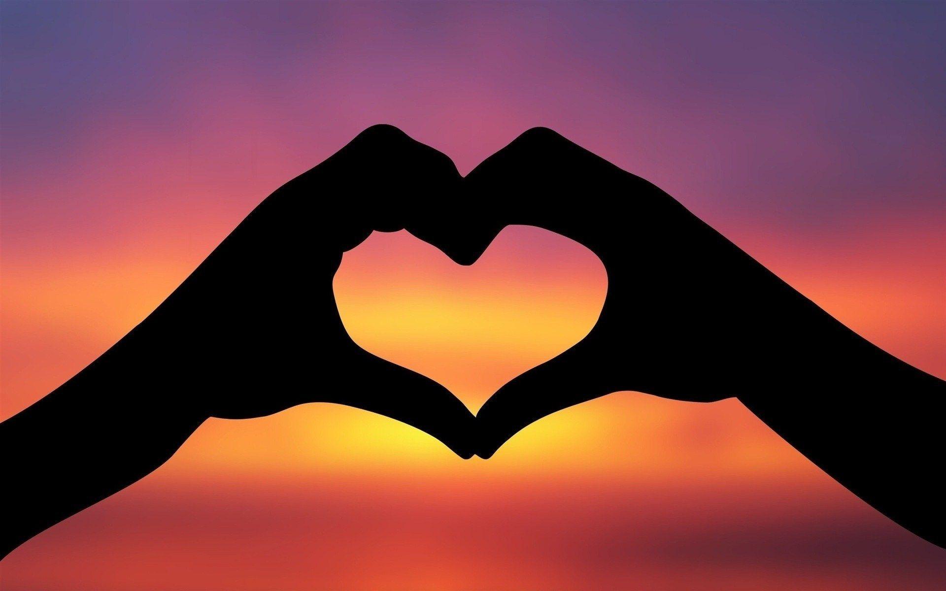 mãos, silhueta, amor, forma do coração, por do sol, hd wallpaper