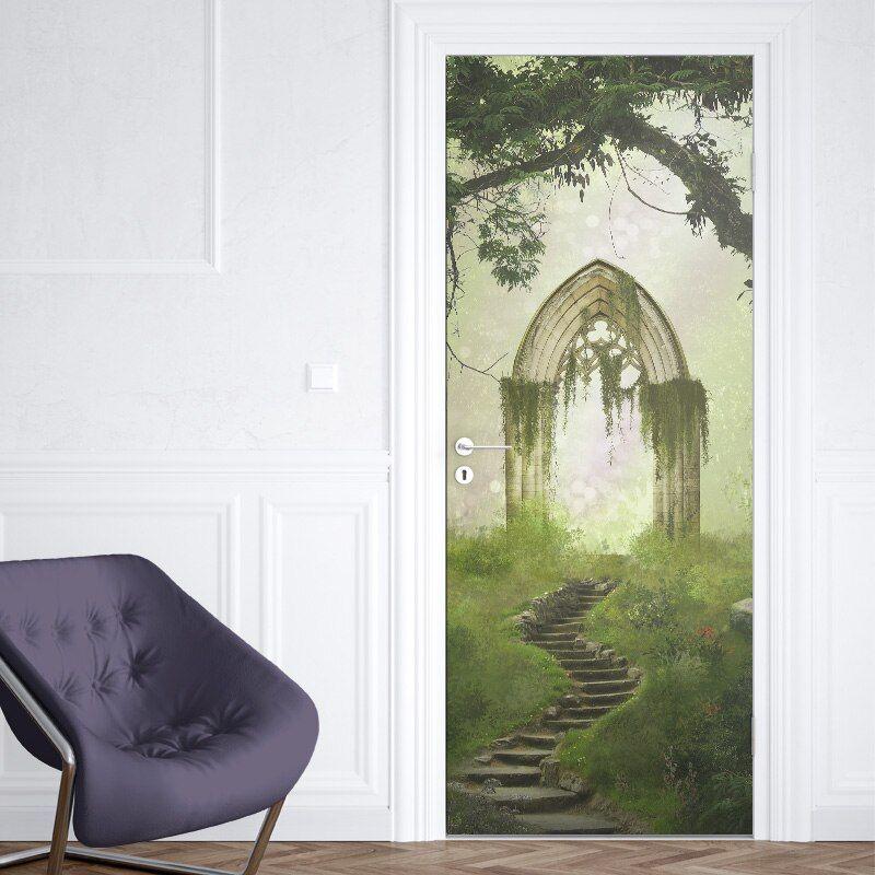 Limited Price 3d Door Sticker Forest Wall Mural Art Magic Castle Wallpaper Poster Stickers Self Adh