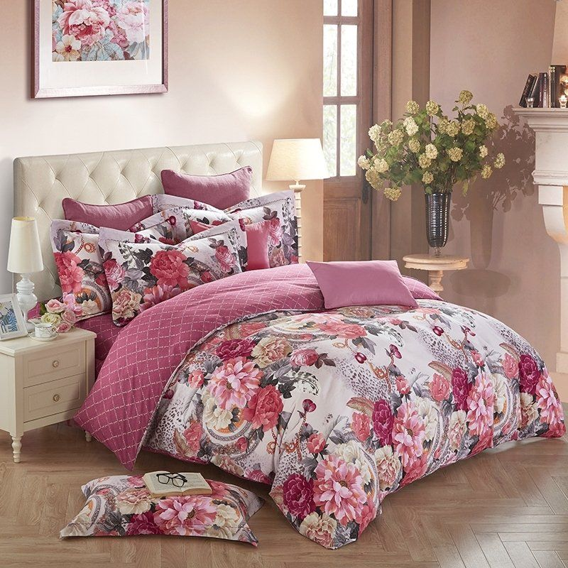 Burgundy Red Grey And White Antique Floral Print Shabby Chic Vintage Style 100 Brushed Cotton Full Queen S Floral Bedding Sets Shabby Chic Bedrooms Bed Decor
