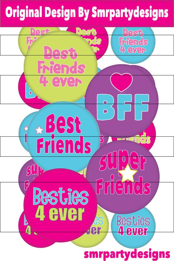 BFF Best Friends printable images. Glue to bottle caps for hairbow centers, necklaces, keychains and more!